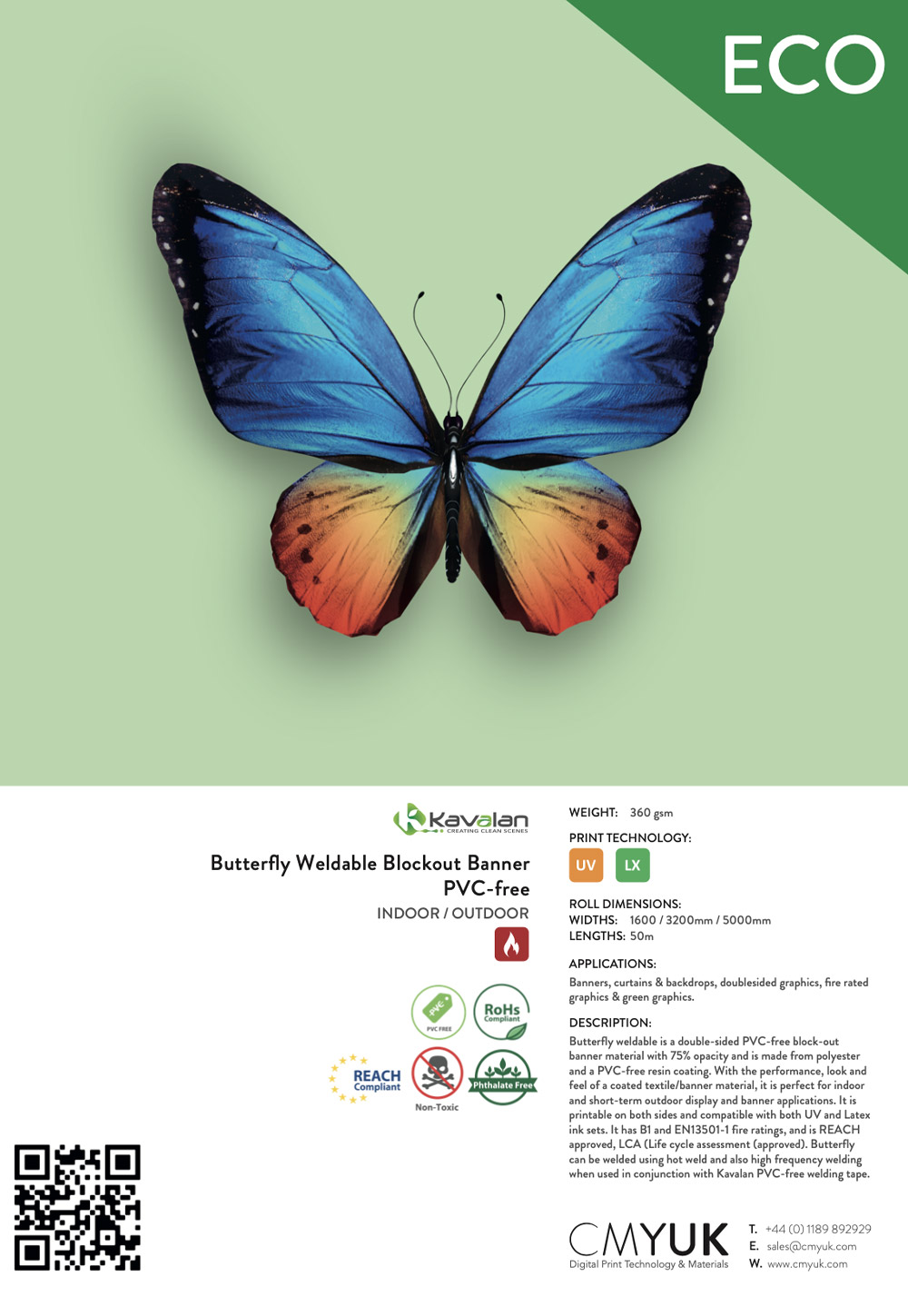 Kavalan Butterfly Weldable Blockout Banner PVC-free