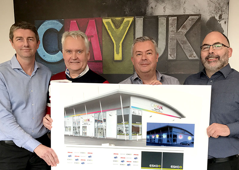 Jon Price, Karston Nygard, Robin East, Judd Perring - Exciting times ahead as CMYUK directors and ESKO review the building design for the new UK Demonstration Centre.
