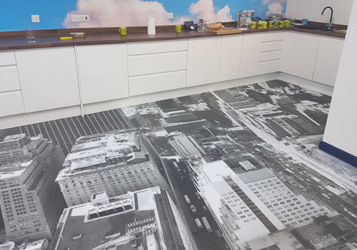 Anton Visual has created stunning floor graphics at Strukta Group's offices using Udeco Crystal Floor media.