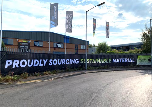 Banner Box has reaffirmed its environmental focus with an attention-grabbing eco mesh hoarding outside its Chesterfield premises.