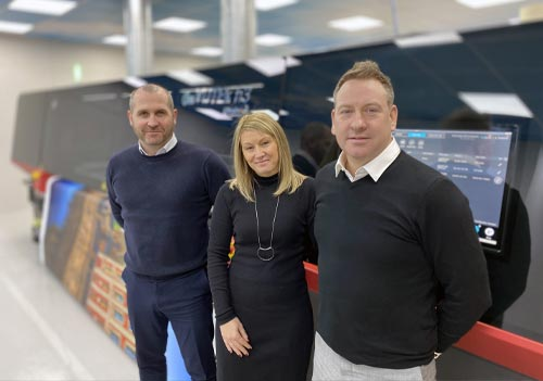 L-to-R: Dave Purcell, DIS Sales Director, Sue Hayward – CMYUK Senior Digital Sales, Mark Bradley, DIS, Managing Director.