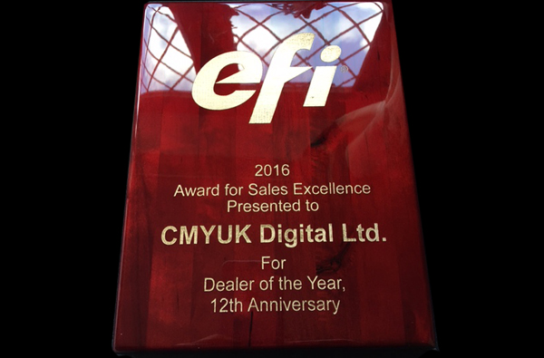 CMYUK named as EFI's Inkjet Dealer of Excellence.
