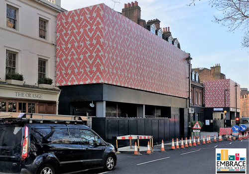 Embrace Building Wraps has installed the UK's first PVC-free printed scaffold wrap at Newson's Yard in London's Belgravia for client Grosvenor Estate.