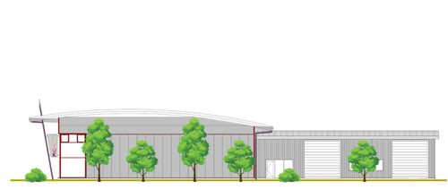 South Elevation of the new Digital Textile Development Facility