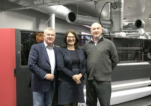 Robin East, Group Director at CMYUK, Adriana Puccio, EFI Senior Manager Regional Marketing, and Steve Stokes, EFI Sales Development Manager