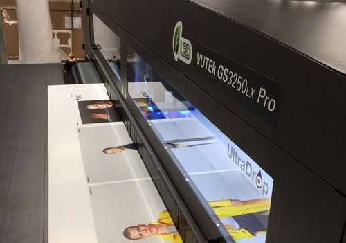 With 'cool cure' LED technology and increased productivity, the EFI VUTEk GS3250LX Pro offers eight colour plus unique multi-layer white print capability