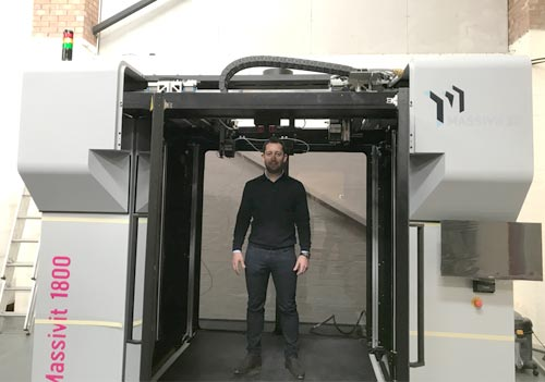 Andy Williams takes delivery of Andesign's new Massivit 1800 3D Printing Solution