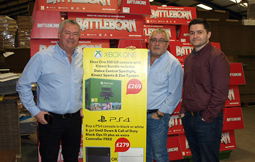 From left, CMYUK director Robin East with Nene Packaging's Rob Lugmayer and David Lugmayer