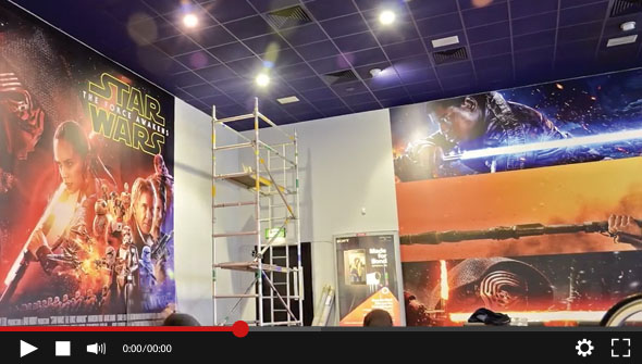 Utack textile removable and repositionable media used by Hollywood Monster for the installation of the Cineworld - Star Wars: The Force Awakens wallpaper.